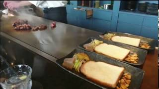 ヘレステーキランチコース 目の前の鉄板で焼いているところを見ながら食...