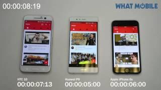 htc 10 vs huawei p9 vs iphone 6s threeway speed test