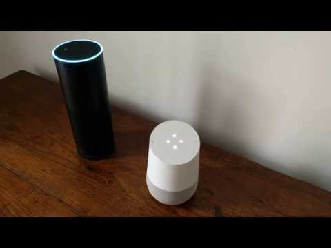 Thumbnail: Amazon Echo having a conversation with Google Home