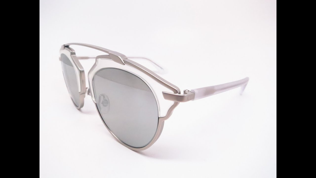 df2171d0e Dior So Real RMRLR Matte Silver Crystal Mirrored Sunglasses - YouTube