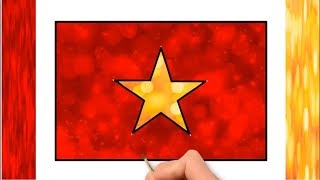 How to Draw Vietnam flag | Vietnamese National Flag | Little Channel | Vietnam flag Blur Color Draw