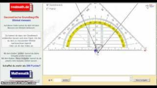 Winkel mit einem Geodreieck messen - Veranschaulichung auf realmath.de