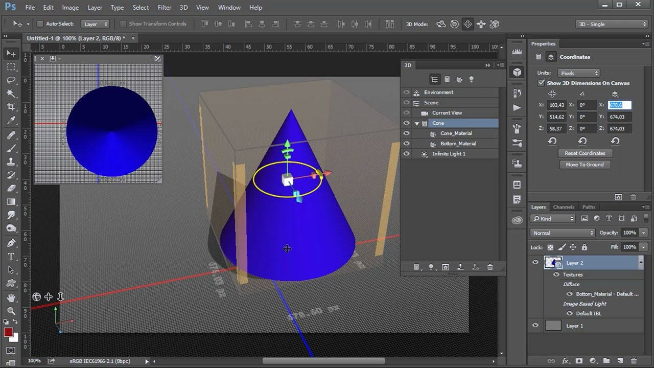 Mover La Vista Y El Objeto En 3d En Photoshop Youtube