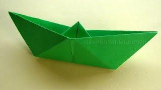 Papierboot falten - Einfaches Papierschiff basteln - Origami Boot basteln mit Papier
