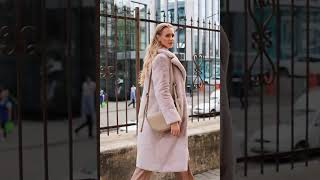 Модная Женская шуба светло бежевого цвета эко мех S M L