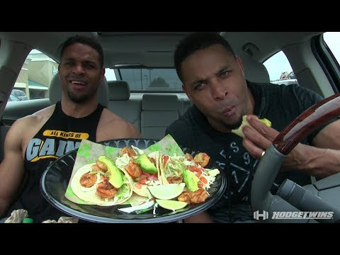 Eating Baja Fresh Shrimp Tacos @hodgetwins