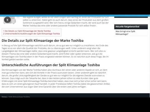 split klimaanlage toshiba split klimaanlagen test youtube. Black Bedroom Furniture Sets. Home Design Ideas