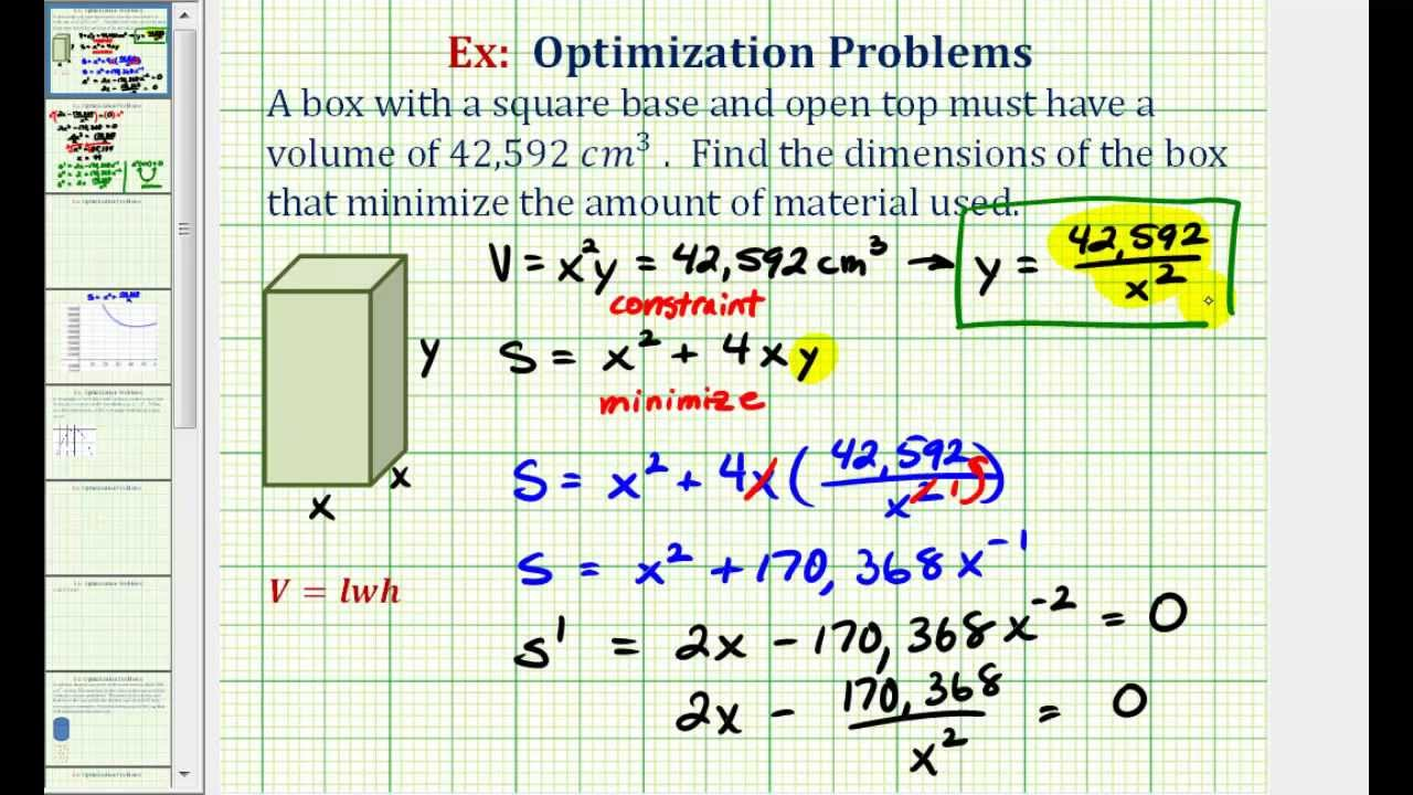 Ex: Optimization  Minimize The Surface Area Of A Box With A Given Volume