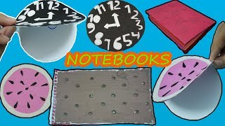 4 DIY Notebook-How To Make Sandwich, Clock, Watermelon, Roses Notebooks-Back To School