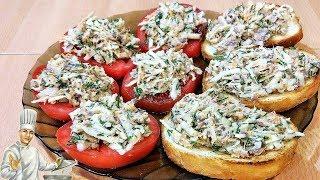 Салат-закуска из рыбной консервы и вкусные бутерброды