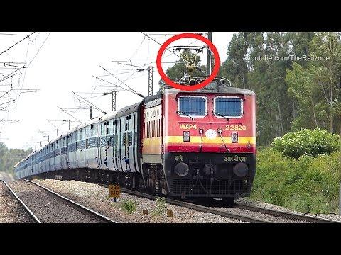 Dangerously Wobbling PANTOGRAPH WAP4 Loco : Indian Railways