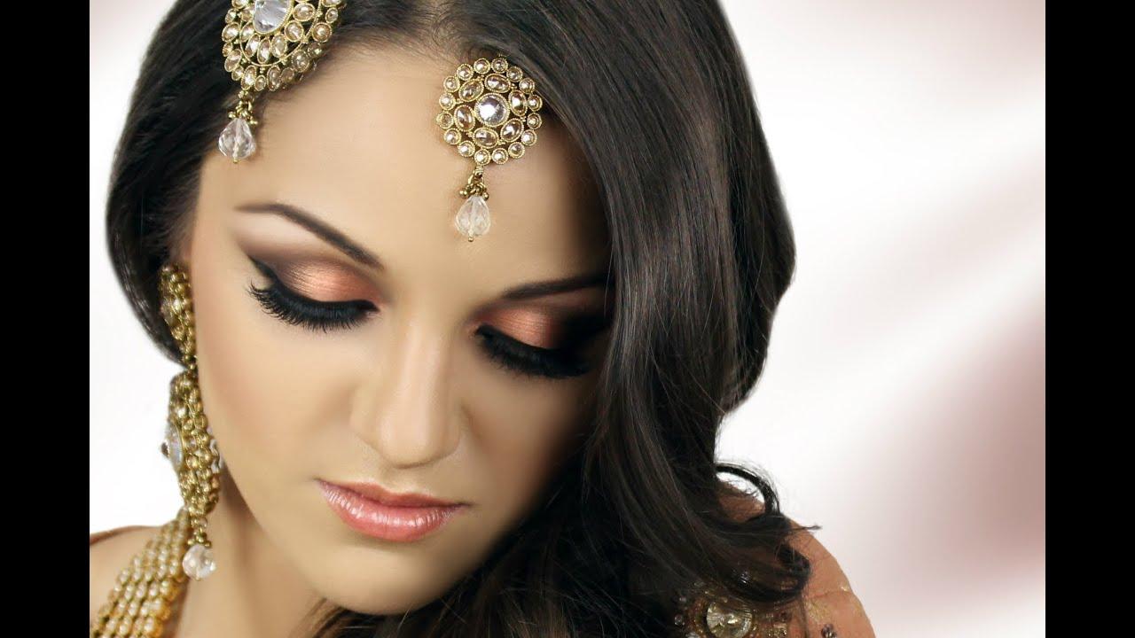 Asian Bridal Makeup Tutorial Peach Smokey Eye Youtube