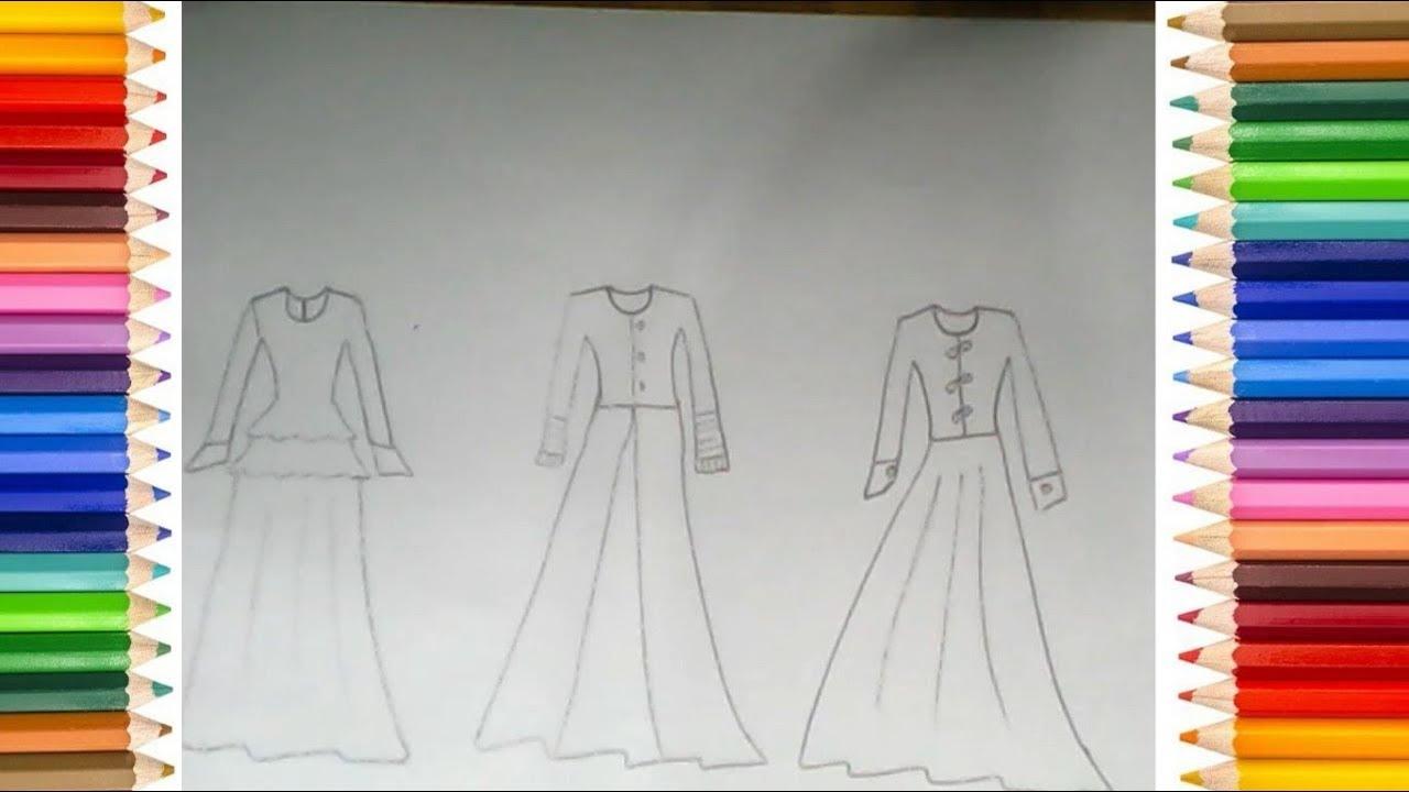 Cara Menggambar Baju Gamis Terbaru 9 - YouTube