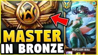 I TOOK MY AKALI INTO BRONZE! MASTER TIER AKALI ONE TRICK VS BRONZE ELO! - League of Legends