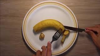 ASMR Banana Eating With A Fork And Knife