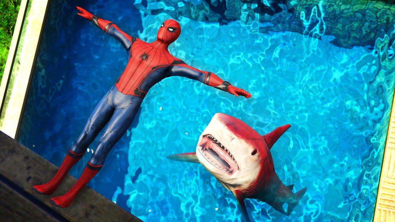 GTA 5 Epic Ragdolls   Spider-Shark vs SPIDERMAN ep.2 (Funny Moments)