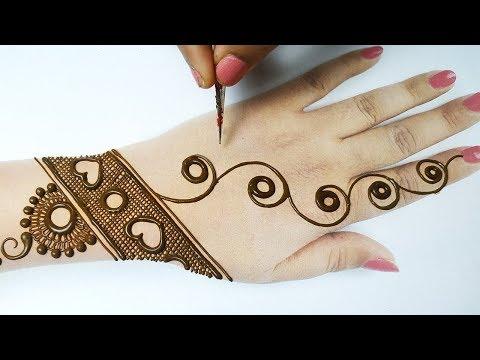 आसान मेहँदी लगाने की नई ट्रिक - Easy Beautiful Mehndi Design on Backhand | Holi Special Mehndi