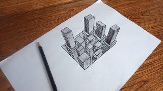 Menggambar bangunan di dalam lubang - tutorial menggambar 3D