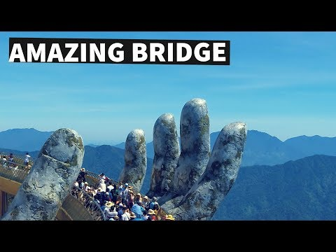 Golden Bridge on Ba Na Hills, Da Nang, Vietnam - Stunning Footage