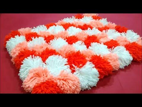 Pompom rug / door mat (diagonal pattern)