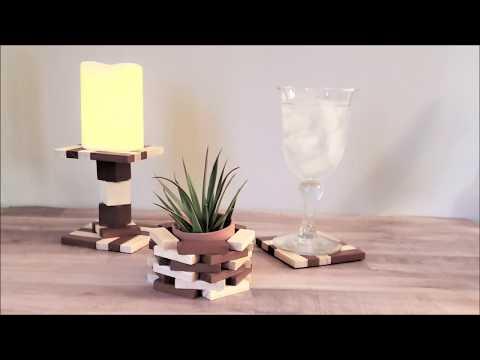DIY Wood Block Candle Holder set using Dollar Tree Items