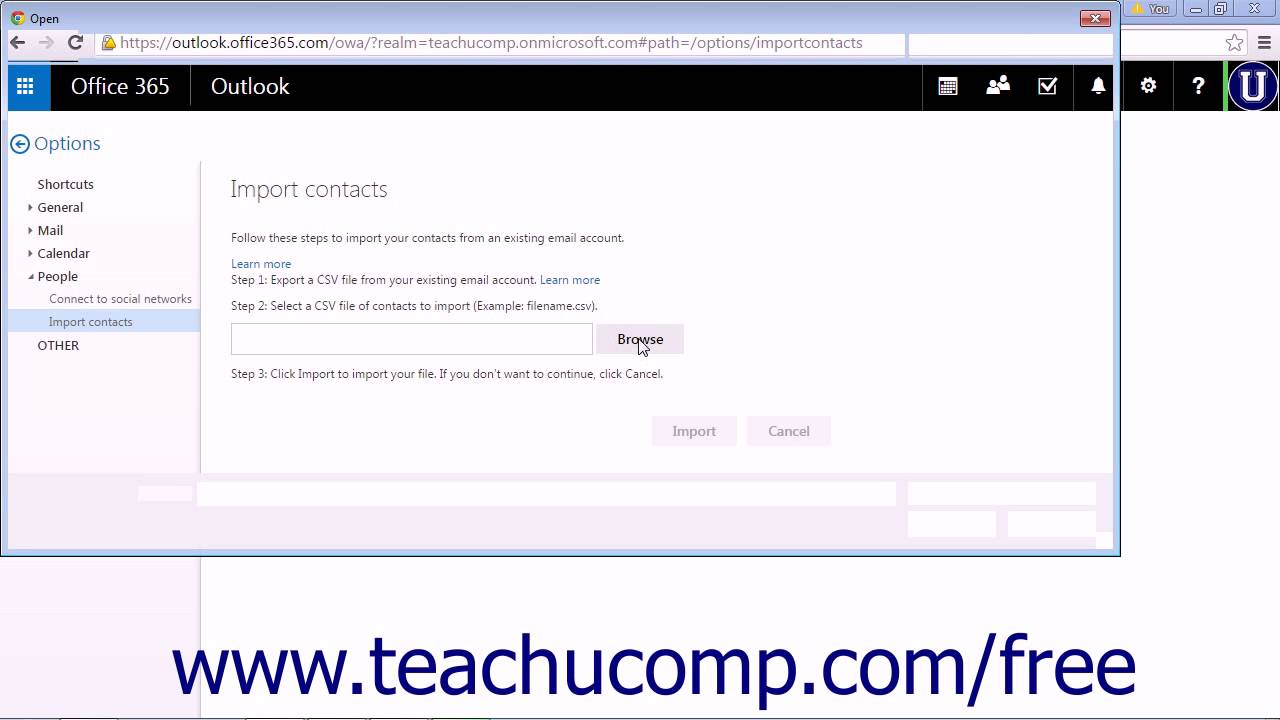 Outlook Web App Tutorial Importing Contacts 2015 Microsoft Training