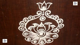 learn Simple Kolam / rangoli Design without using Dots || maitrin 2018
