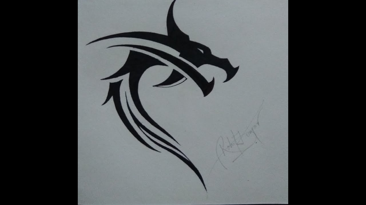 6033a594c How to draw a tribal dragon head tattoo design - YouTube
