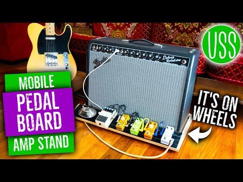 Rolling Guitar Amp Stand with Built In Pedal Board