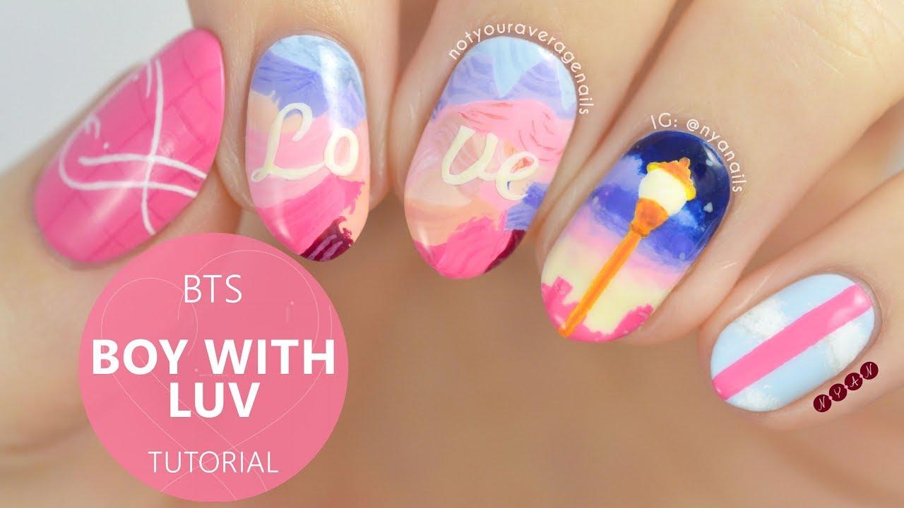"bts ""boy with luv"" nail art tutorial"