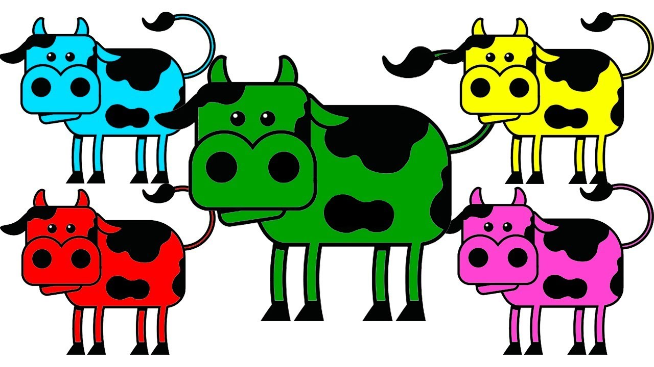 LEARN COLORS with farm cow for Children COW Coloring Page For Kids ...
