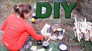 Bushcraft Camping Part 2 - Diy Flame Grill Campfire With Meat And Vegetables