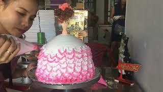 Bánh kem hình búp bê siêu dễ thương - Make a cute doll cake pie