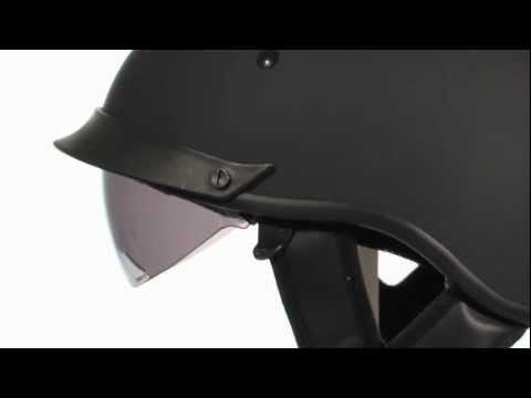 Outlaw T72 Flat Black Dual Visor DOT Half Helmet At LeatherUp.com