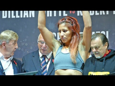Anahi Sanchez OVERWEIGHT! vs Katie Taylor - WEIGH IN