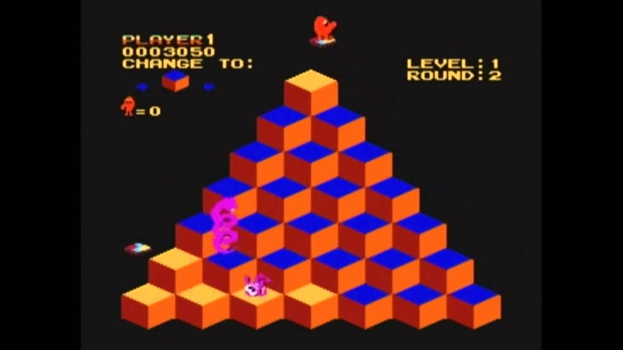 Qbert NES Game Play Showing Off Some Platforming - YouTube