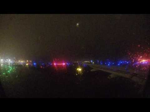 [4K] Alitalia A319 Taking off in Paris Orly Airport during rain at night
