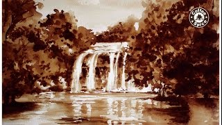 Coffee Painting Tutorial: How to Paint a Realistic Waterfall by Coffee Artist ELLA HIPOLITO