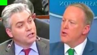 Sean Spicer VERY HEATED argument with CNN Jim Acosta and ABC News reporter 3/16/2017