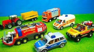 Feuerwehr, Polizei & Krankenwagen, Traktor & Jeep, Bagger & Laster, Unboxing, Kinderfilm