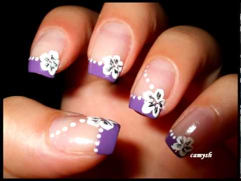 Purple French And White Flowers Nail Art Tutorial Youtube