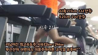 부산산마 어벤져스 이봉주마라톤 러닝머신 속도주(시속12…