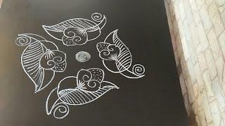 Simple rangoli..simple daily kolam...leaf N flower..5 to 5 dots