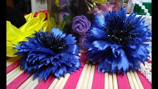 василек из атласной ленты//Fiordaliso fatto di nastro di raso //Cornflower made of satin ribbon /DIY