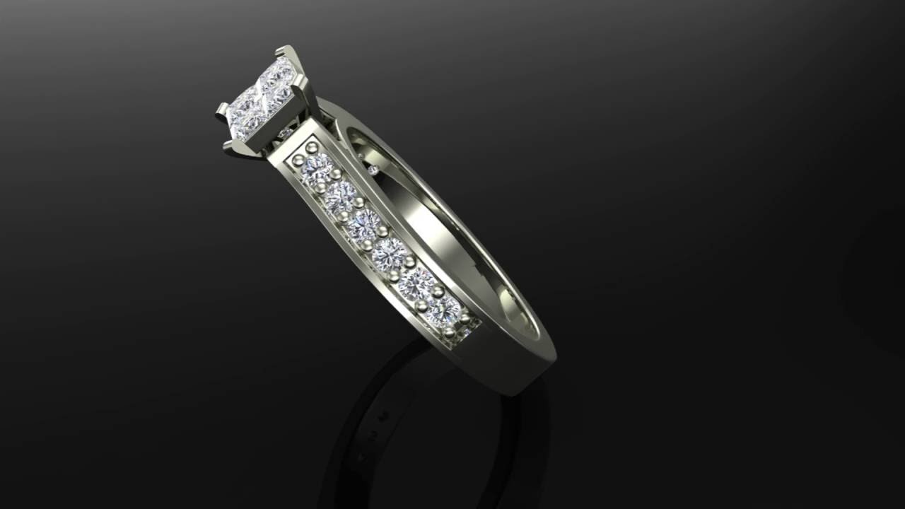 four quad princess cut diamond cathedral accent engagement ring