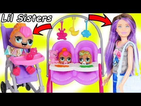 LOL Surprise Dolls + Lil Sisters Meet Skipper the Babysitter - Barbie Shops Toy Video