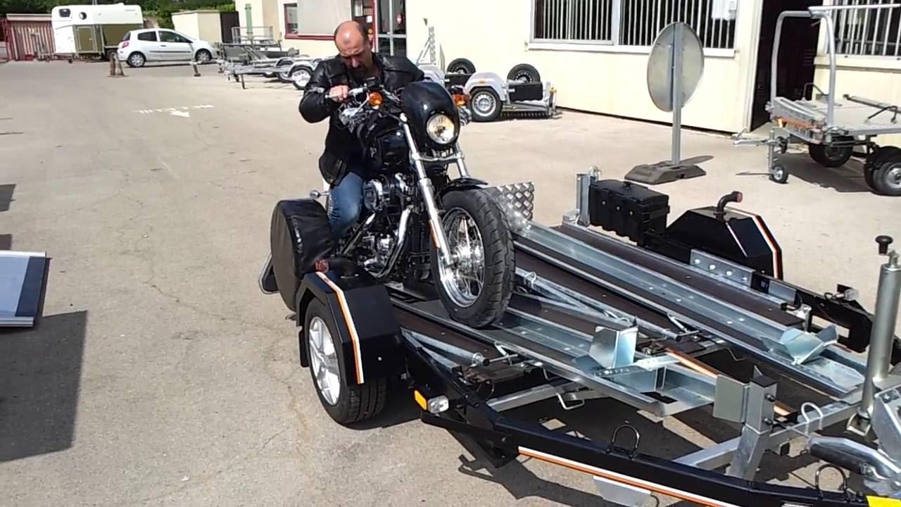 Remorque porte 2 motos basculement automatique atas - Remorque porte moto grosse cylindree ...