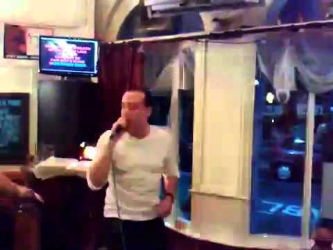 Andrew Hucker on the karaoke in Newport