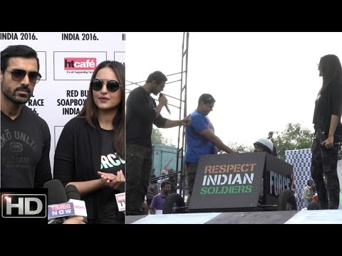 John Abraham & Sonakshi Sinha Flag Up Red Bull Soapbox Race India 2016