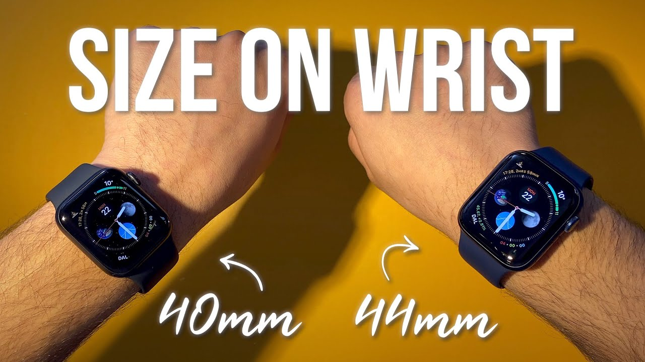 40mm and 44mm (middle) · apple. Size Comparison On Wrist Apple Watch Series 6 40mm Vs 44mm Youtube